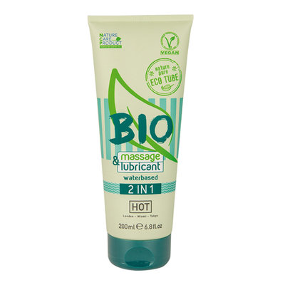 HOT BIO 2 in 1 Waterbasis Glijmiddel En Massagegel